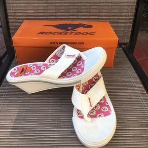 Rocket Dog white wedge sandals size 8